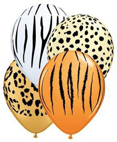 All Over Print 12 inch Lates Balloons- Animal Print Assortment