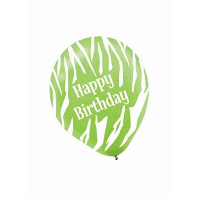 All Over Print 12 inch Lates Balloons- Birthday Zebra Bright Assortment