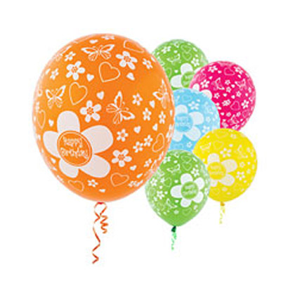 All Over Print 12 inch Lates Balloons- Birthday Flower Assortment