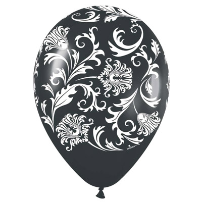 All Over Print 12 inch Lates Balloons- Brocade Black and White Assortment