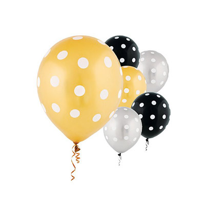 All Over Print 12 inch Lates Balloons- Dots Black/Silver/Gold Assortment
