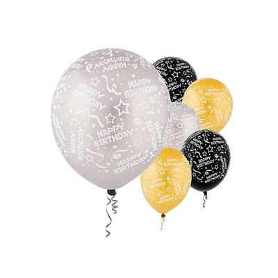 All Over Print 12 inch Lates Balloons- Birthday Confetti Black/Silver/Gold Assortment