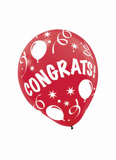 All Over Print 12 inch Lates Balloons- Congrats Assorted Colors