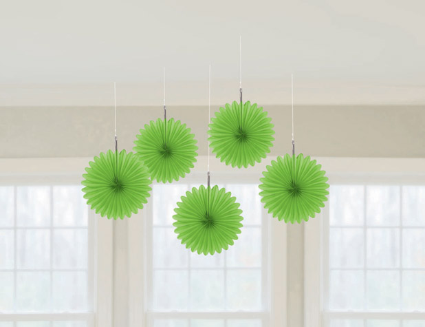Mini hanging fan decorations kiwi the party starts here for Decoration kiwi
