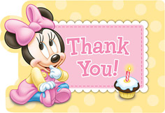 Disney Minnie's First Birthday Thank You Cards