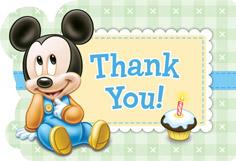 Disney Mickey's First Birthday D-C Postcard Thank You Cards