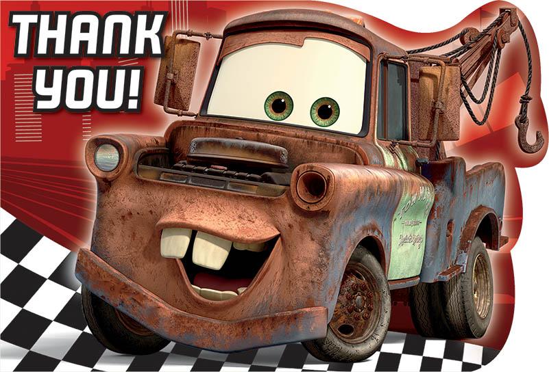 Disney Pixar Cars Thank You Cards