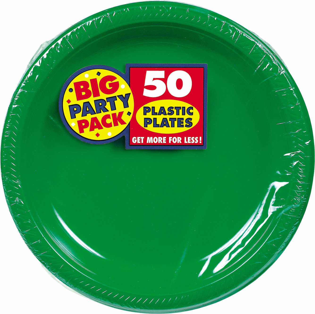 Big Party Pack 10 1/4 inch Plastic Plates- Festive Green