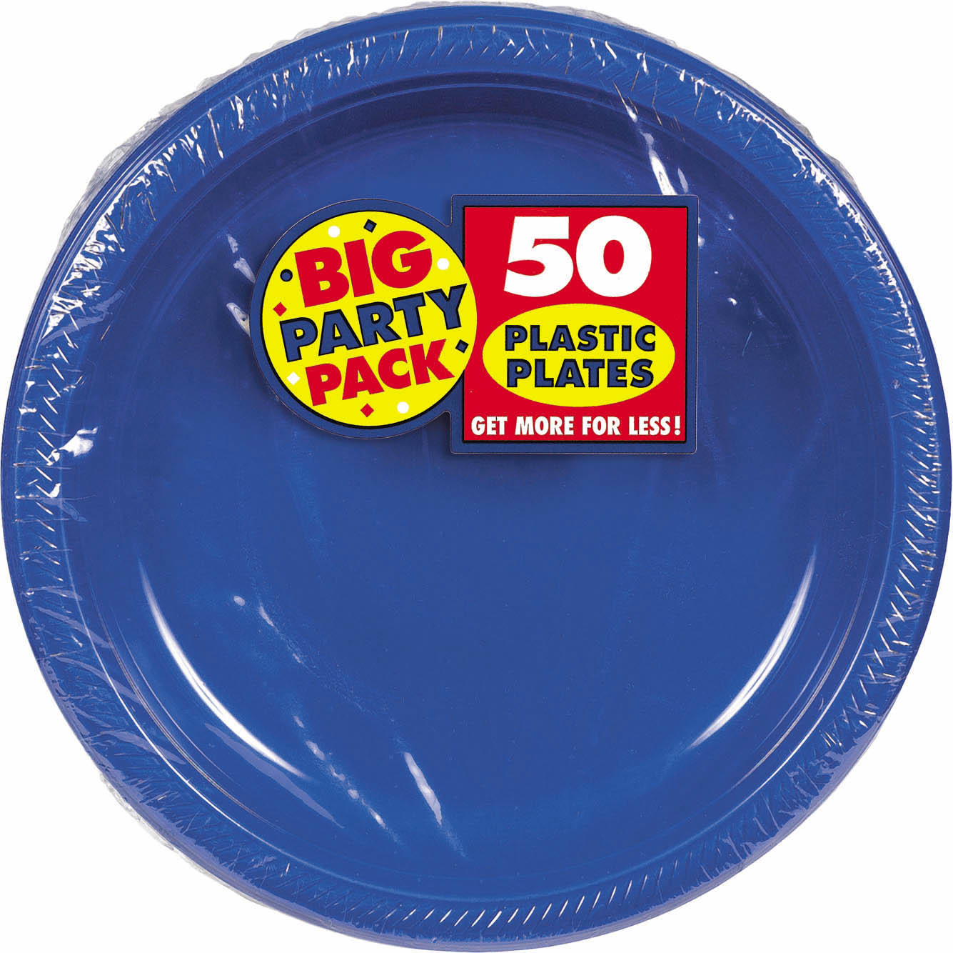 Big Party Pack 10 1/4 inch Plastic Plates- Bright Royal Blue