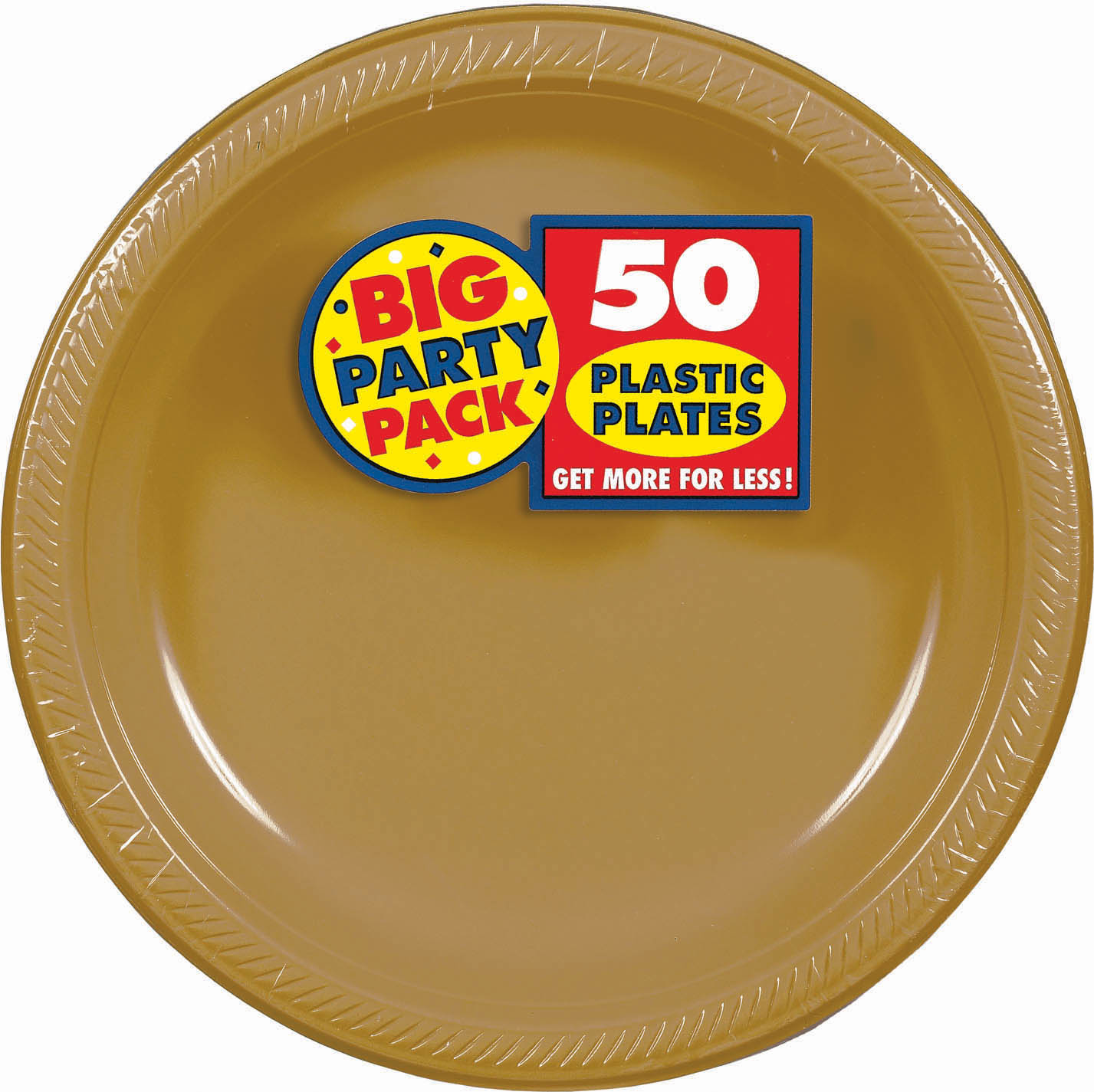 Big Party Pack 10 1/4 inch Plastic Plates- Gold