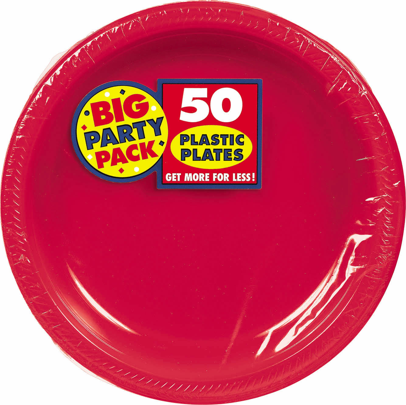 Big Party Pack 10 1/4 inch Plastic Plates- Apple Red