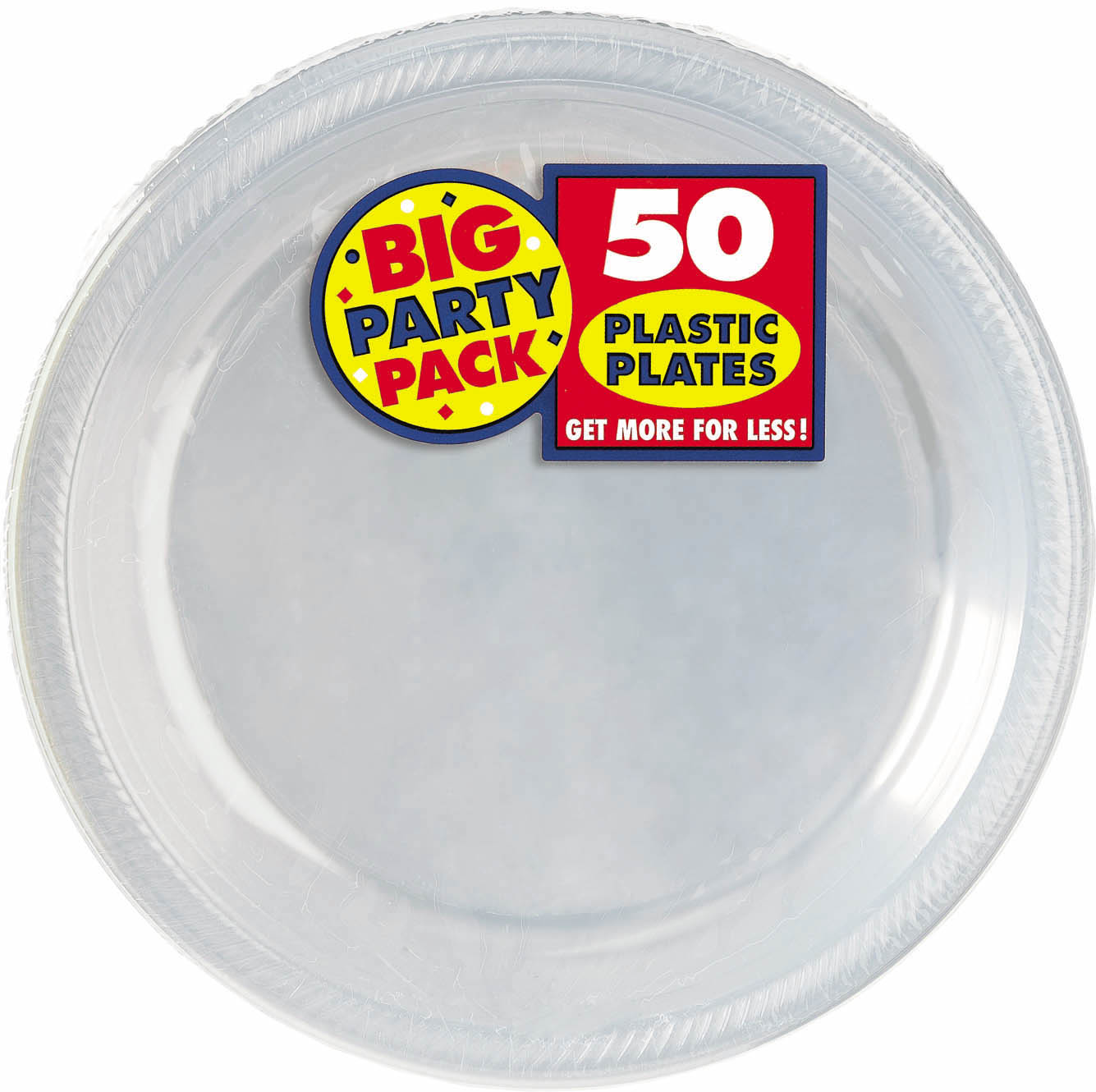 Big Party Pack 10 1/4 inch Plastic Plates- Clear