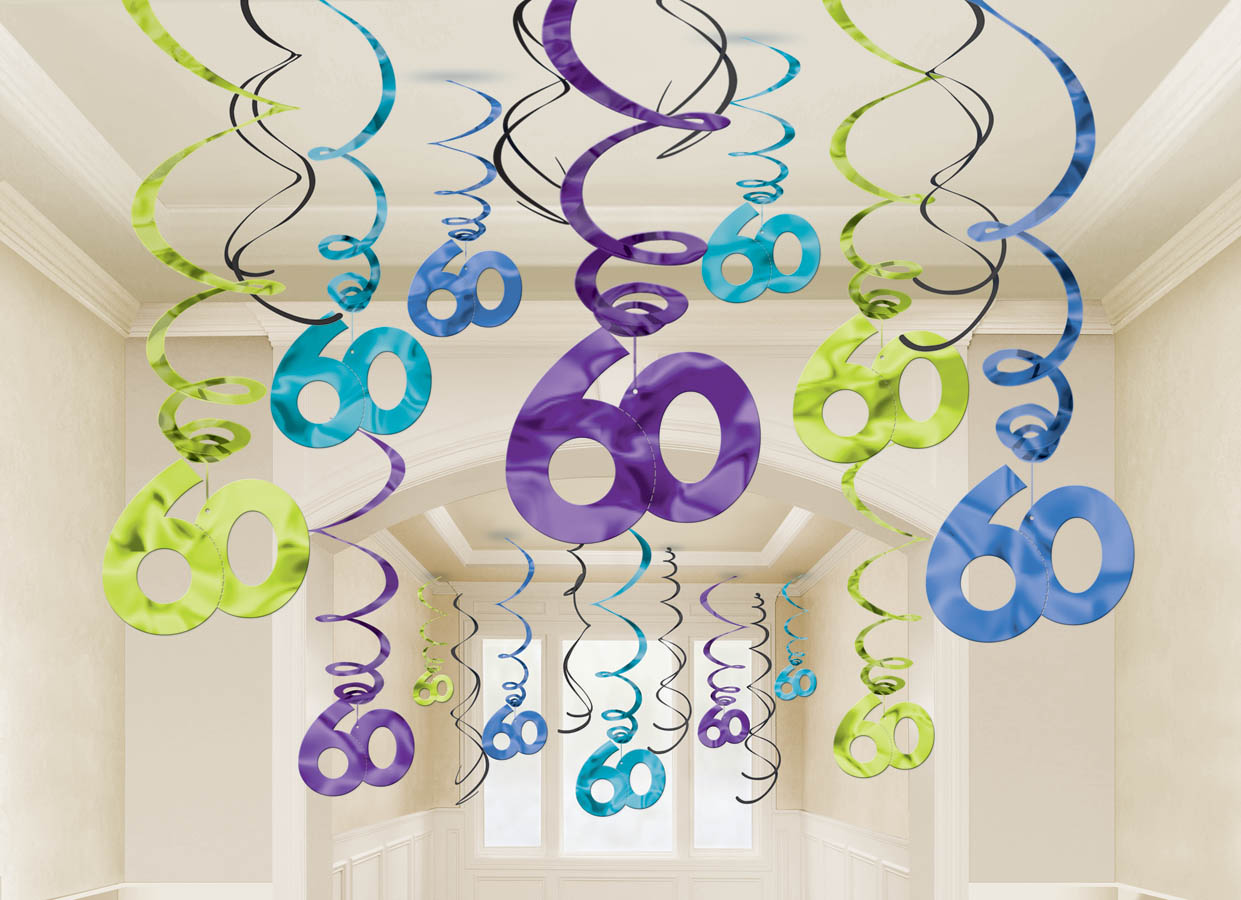 60 mega value pack foil swirl decorations the party for 60th birthday decoration