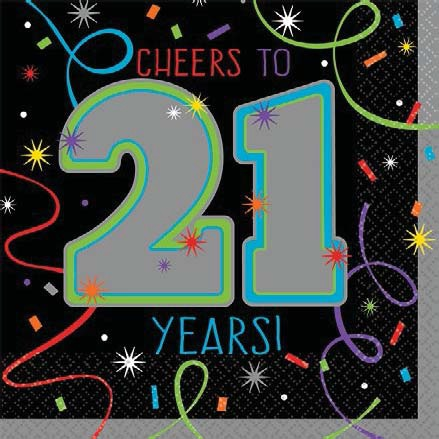21st Birthday Beverage Napkins